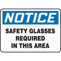 Accuform Signs - MPPE854XF - Accuform Signs 7 X 10 Black, Blue And White Dura Fiberglass PPE Sign NOTICE SAFETY GLASSES REQUIRED IN THIS AREA With 3/16 Corner Mounting Hole And Round Corner, ( Each )