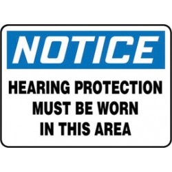 Accuform Signs - MPPE855XT - Accuform Signs 7 X 10 Black, Blue And White Dura Plastic PPE Sign NOTICE HEARING PROTECTION MUST BE WORN IN THIS AREA With 3/16 Corner Mounting Hole And Round Corner