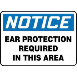 Accuform Signs - MPPE861VS - Accuform Signs 7 X 10 Black, Blue And White 4 mils Adhesive Vinyl PPE Sign NOTICE EAR PROTECTION REQUIRED IN THIS AREA, ( Each )