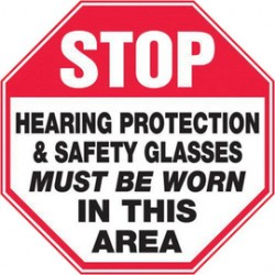 Accuform Signs - Mppe910vs - Accuform Signs 12 X 12 Black, Red And White 4 Mils Adhesive Vinyl Ppe Sign Stop Hearing Protection & Safety Glasses Must Be Worn In This Area, ( Each )