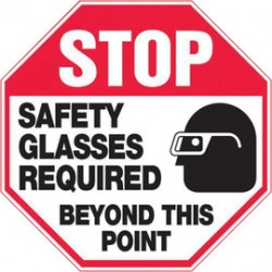 Accuform Signs - MPPE920XV - Accuform Signs 12 X 12 Black, Red And White 6 mils Adhesive Dura Vinyl PPE Sign STOP SAFETY GLASSES REQUIRED BEYOND THIS POINT (With Graphic), ( Each )