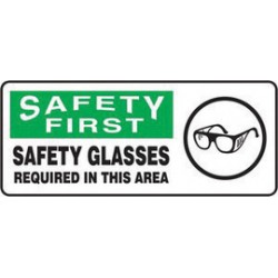 Accuform Signs - MPPE921XV - Accuform Signs 7 X 17 Black, Green And White 6 mils Adhesive Dura Vinyl PPE Sign SAFETY FIRST SAFETY GLASSES REQUIRED IN THIS AREA (With Graphic), ( Each )