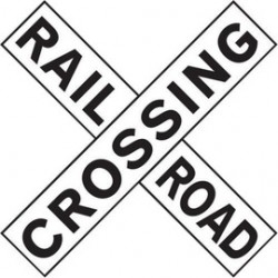 Accuform Signs - MR15RA - Accuform Signs 9 X 48 Black And White 7 mils Engineer Grade Reflective Aluminum Rail Sign RAILROAD CROSSING X (2 PIECES), ( Each )