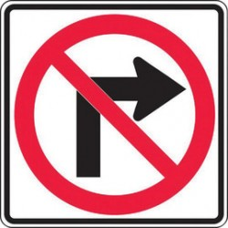 Accuform Signs - MR32RRA - Accuform Signs 24 X 24 Black, Red And White 7 mils Engineer Grade Reflective Aluminum Lane Guidance Sign NO RIGHT TURN (With Arrow), ( Each )