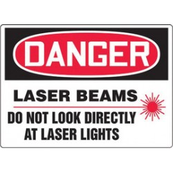 Accuform Signs - MRAD012VA - Accuform Signs 10 X 14 Red, Black And White 0.040 Aluminum Sign DANGER LASER BEAMS DO NOT LOOK DIRECTLY AT LASER LIGHTS (With Graphic) With Round Corner, ( Each )