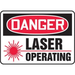 Accuform Signs - MRAD021XT - Accuform Signs 7 X 10 Black, Red And White Dura Plastic Sign DANGER LASER OPERATING (With Graphic) With 3/16 Corner Mounting Hole And Round Corner, ( Each )