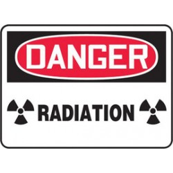Accuform Signs - MRAD110VP - Accuform Signs 7 X 10 Black, Red And White 0.055 Plastic Radiation Sign DANGER RADIATION (With Graphic) With 3/16 Mounting Hole And Round Corner, ( Each )