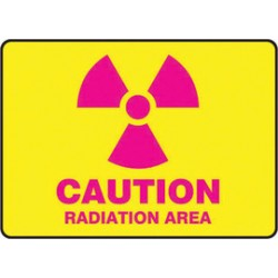 Accuform Signs - MRAD501XT - Accuform Signs 7 X 10 Pink And Yellow Dura Plastic Radiation Sign CAUTION RADIATION AREA (With Graphic) With 3/16 Corner Mounting Hole And Round Corner, ( Each )