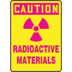 Accuform Signs - MRAD617XT - Accuform Signs 14 X 10 Pink And Yellow Dura Plastic Radiation Sign CAUTION RADIOACTIVE MATERIALS (With Graphic) With 3/16 Corner Mounting Hole And Round Corner, ( Each )