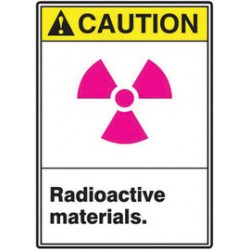 Accuform Signs - MRAD621VP - Accuform Signs 14 X 10 Black, Pink, Yellow And White 0.055 Plastic Radiation Sign CAUTION RADIOACTIVE MATERIALS (With Graphic) With 3/16 Mounting Hole And Round Corner