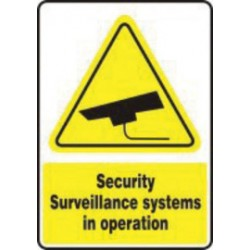 Accuform Signs - MSEC563VA - Accuform Signs 18 X 12 Yellow, Black And White 0.040 Aluminum Admittance And Exit Sign NO HEADER - SECURITY SURVEILLANCE SYSTEMS IN OPERATION With Round Corner