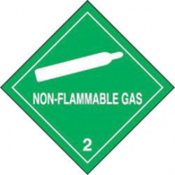 Accuform Signs - MSL201EV2 - Accuform Signs 4' X 4' Green Adhesive Poly HAZARD CLASS 2 Label 'NON-FLAMMABLE GAS (With Graphic)' (250 Per Roll), ( Roll )
