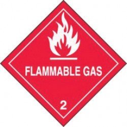 Accuform Signs - MSL202EV2 - Accuform Signs 4' X 4' Red Adhesive Poly HAZARD CLASS 2 Label 'FLAMMABLE GAS (With Graphic)' (250 Per Roll), ( Roll )