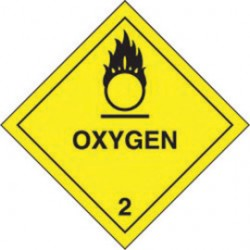 Accuform Signs - MSL204EV5 - Accuform Signs 4' X 4' Black And Yellow Adhesive Poly HAZARD CLASS 2 Label 'OXYGEN (With Graphic)' (500 Per Roll), ( Each )