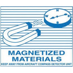 Accuform Signs - Msl227 - Accuform Signs 3 1/4 X 4 Blue And White Adhesive Coated Paper Hazardous Material Shipping Label Magnetized Materials Keep Away From Aircraft Compass Detector Unit