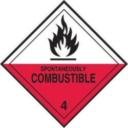 Accuform Signs - MSL403EV2 - Accuform Signs 4' X 4' White And Red Adhesive Poly HAZARD CLASS 4 Label 'SPONTANEOUSLY COMBUSTIBLE (With Graphic)' (250 Per Roll), ( Roll )