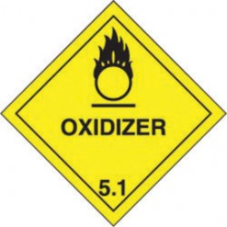 Accuform Signs - MSL501EV2 - Accuform Signs 4' X 4' Black And Yellow Adhesive Poly HAZARD CLASS 5 Label 'OXIDIZER (With Graphic)' (250 Per Roll), ( Roll )