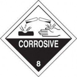 Accuform Signs - MSL801PS2 - Accuform Signs 4' X 4' Black And White Adhesive Coated Paper HAZARD CLASS 8 Label 'CORROSIVE (With Graphic)' (250 Per Roll), ( Roll )