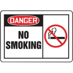 Accuform Signs - MSMK001XF - Accuform Signs 10 X 14 Black, Red And White Dura Fiberglass Smoking Control Sign DANGER NO SMOKING (With Graphic) With 3/16 Corner Mounting Hole And Round Corner