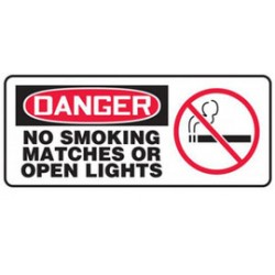 Accuform Signs - MSMK021XP - Accuform Signs 7 X 17 White, Red And Black 2-Ply Polycarbonate Smoking Control Sign DANGER NO SMOKING MATCHES OR OPEN LIGHTS With 1/4 Mounting Holes And Rounded Corners