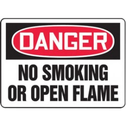 Accuform Signs - MSMK050XL - Accuform Signs 10' X 14' Black, Red And White Aluma-Lite Smoking Control Sign 'DANGER NO SMOKING OR OPEN FLAME' With 1/4' Mounting Corner Hole And Round Corner, ( Each )