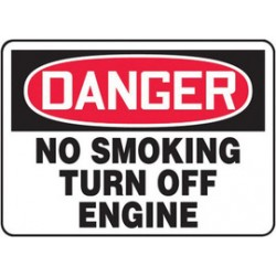 Accuform Signs - MSMK057VS - Accuform Signs 7' X 10' Black, Red And White 4 mils Adhesive Vinyl Smoking Control Sign 'DANGER NO SMOKING TURN OFF ENGINE', ( Each )