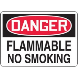 Accuform Signs - MSMK246VP - Accuform Signs 10' X 14' Black, Red And White 0.055' Plastic Smoking Control Sign 'DANGER FLAMMABLE NO SMOKING' With 3/16' Mounting Hole And Round Corner, ( Each )