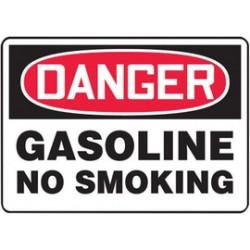 Accuform Signs - MSMK253VS - Accuform Signs 7' X 10' Black, Red And White 4 mils Adhesive Vinyl Smoking Control Sign 'DANGER GASOLINE NO SMOKING', ( Each )