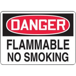 Accuform Signs - MSMK254VS - Accuform Signs 7' X 10' Black, Red And White 4 mils Adhesive Vinyl Smoking Control Sign 'DANGER FLAMMABLE NO SMOKING', ( Each )
