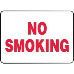 Accuform Signs - MSMK419VA - Accuform Signs 14' X 20' Red And White 0.040' Aluminum Smoking Control Sign 'NO SMOKING' With Round Corner, ( Each )