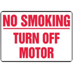 Accuform Signs - MSMK449VA - Accuform Signs 10' X 14' Red And White 0.040' Aluminum Smoking Control Sign 'NO SMOKING TURN OFF MOTOR' With Round Corner, ( Each )