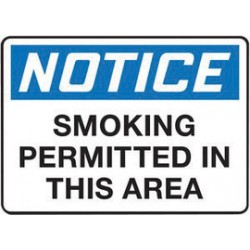 Accuform Signs - MSMK825XF - Accuform Signs 7 X 10 Black, Blue And White Dura Fiberglass Smoking Control Sign NOTICE SMOKING PERMITTED IN THIS AREA With 3/16 Corner Mounting Hole And Round Corner