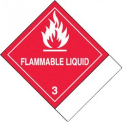 Accuform Signs - MSS300 - Accuform Signs 4 X 4 3/4 White And Red Adhesive Coated Paper HAZARD CLASS 3 Label FLAMMABLE LIQUID (500 Per Roll), ( Roll )