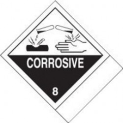 Accuform Signs - MSS800 - Accuform Signs 4 X 4 3/4 Black And White Adhesive Coated Paper HAZARD CLASS 8 Label CORROSIVE (500 Per Roll), ( Roll )