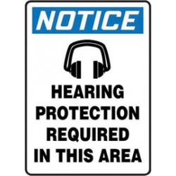 Accuform Signs - MTDX803VP - Accuform Signs 14 X 10 Black, Blue And White 0.055 Plastic PPE Sign NOTICE HEARING PROTECTION REQUIRED IN THIS AREA (With Graphic) With 3/16 Mounting Hole And Round Corner