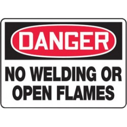Accuform Signs - MWLD007VS - Accuform Signs 10 X 14 Red, Black And White 4 mils Adhesive Vinyl Construction Site Sign DANGER NO WELDING OR OPEN FLAMES, ( Each )