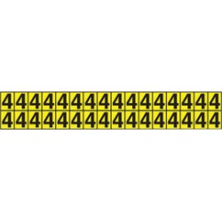 Accuform Signs - NCH6053YL - Accuform Signs 7' X 5' Black And Yellow Self-Adhesive Deluxe Vinyl Individual Number Marker '3' With 6' Character, ( Each )