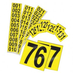 Accuform Signs - NCS1062YL - Accuform Signs 1 1/2' X 1 1/2' Black And Yellow Deluxe Vinyl Sequential Number Marker '051-075' With 1' Character, ( Package )