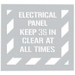 Accuform Signs - PMS309 - Accuform Signs 44' X 40' White And Gray 0.06' Polyethylene Floor Marking Stencil 'ELECTRICAL PANEL KEEP 36 IN CLEAR AT ALL TIMES', ( Each )