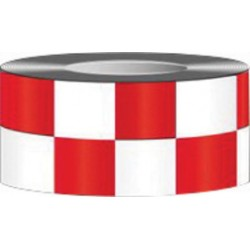 Accuform Signs - PTM773RDWT-RL - Accuform Signs 2 X 54' Red And White 6 mil Vinyl Adhesive Backed Laminate Checkerboard Pattern Marking Tape, ( Roll )