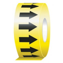 Accuform Signs - RAW252BKYL - Accuform Signs 1 X 54' Black And Yellow 6 mil Self-Adhesive Vinyl Directional Flow Arrow Tape, ( Roll )