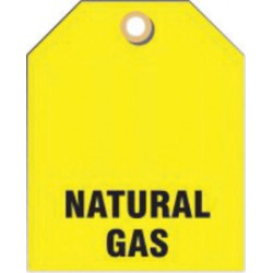 Accuform Signs - TDW218 - Accuform Signs 2 1/2 X 2 Black And Yellow 15 mil RV-Plastic Valve ID Tag NATURAL GAS With Grommeted 3/8 Hole (5 Per Pack), ( Each )