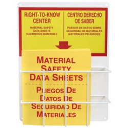 Accuform Signs - ZRS325 - Accuform Signs 9 X 13 3/4 X 5 Red And Yellow 0.063 Aluminum American English Basket Center Board RIGHT-TO-KNOW STATION MSDS, ( Each )