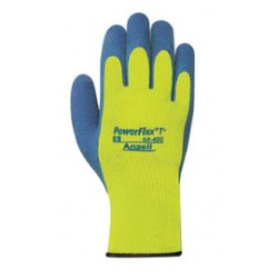 Ansell-Edmont - 103510-DZ - Ansell Size 8 Blue And Hi-Viz Yellow PowerFlex T Thermal Terry Cloth Lined Cold Weather Gloves With Knit Wrist And Natural Rubber Latex Coated Palm, ( Dozen of 12 )