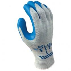 Showa Best Glove - 300L-09-DZ - SHOWA Size 9 ATLAS 10 Gauge Blue Natural Rubber Work Gloves With Cotton/Polyester Liner And Knit Wrist, ( Dozen of 12 )