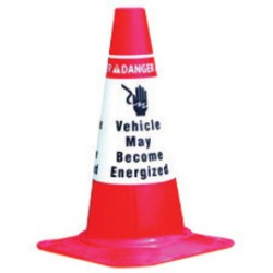Brady - 101972 - Brady 9.398' W X 19 3/4' H Red, Black And White Vinyl Reflective Traffic Cone Sleeve DANGER VEHICLE MAY BECOME ENERGIZED (6 Per Pack)