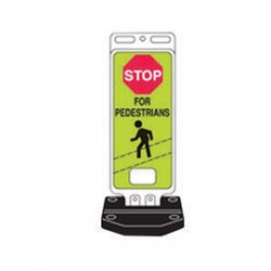 Brady - 103709 - Brady 40 X 14 X .090 Fluorescent Yellow/Green .090 B-959 Plastic Safety Sign STOP FOR PEDESTRIANS, ( Each )