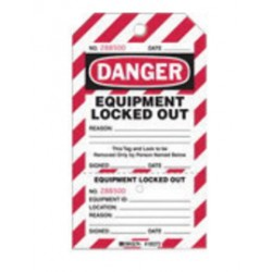 Brady - 105372 - Brady 7 1/2' X 4' Red, Black And White Heavy Cardstock Two-Part Perforated Tag 'DANGER EQUIPMENT LOCKED OUT' (25 Per Pack), ( Package )