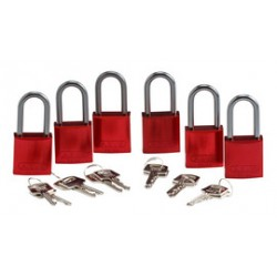 Brady - 105882 - Padlock, Aluminium, 1.5 Steel Shackle, Keyed Alike, Red, Pack of 6