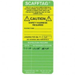 Brady - 108008 - Brady Green And Yellow SCAFFTAG Standard Insert (100 Per Pack), ( Package )